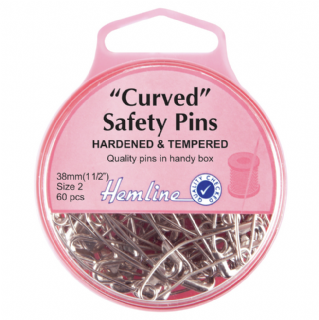 Hemline Curved Safety Pins - 38mm long - Nickel - Pack of 60